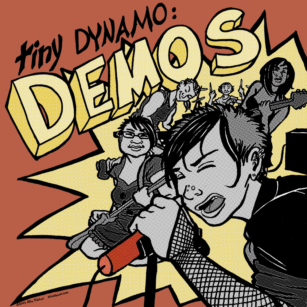 Tiny Dynamo: The Fuse is the story of a college band's first gig, done as a fun exercise: practicing telling a simple(!) narrative, and a lot of focus on technical nuts & bolts. I have big plans for these characters ... rockstars are so much fun to DRAW.  Zebra brushpens, Sakura microns and Photoshop.