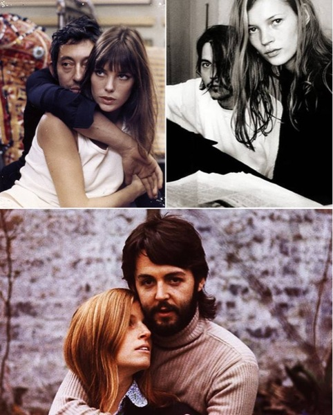 Seleção da Collector 55 de casais famosos // Serge Gainsbourg + Jane Birkin, Johnny Depp + Kate Moss e Linda + Paul Mccartney.