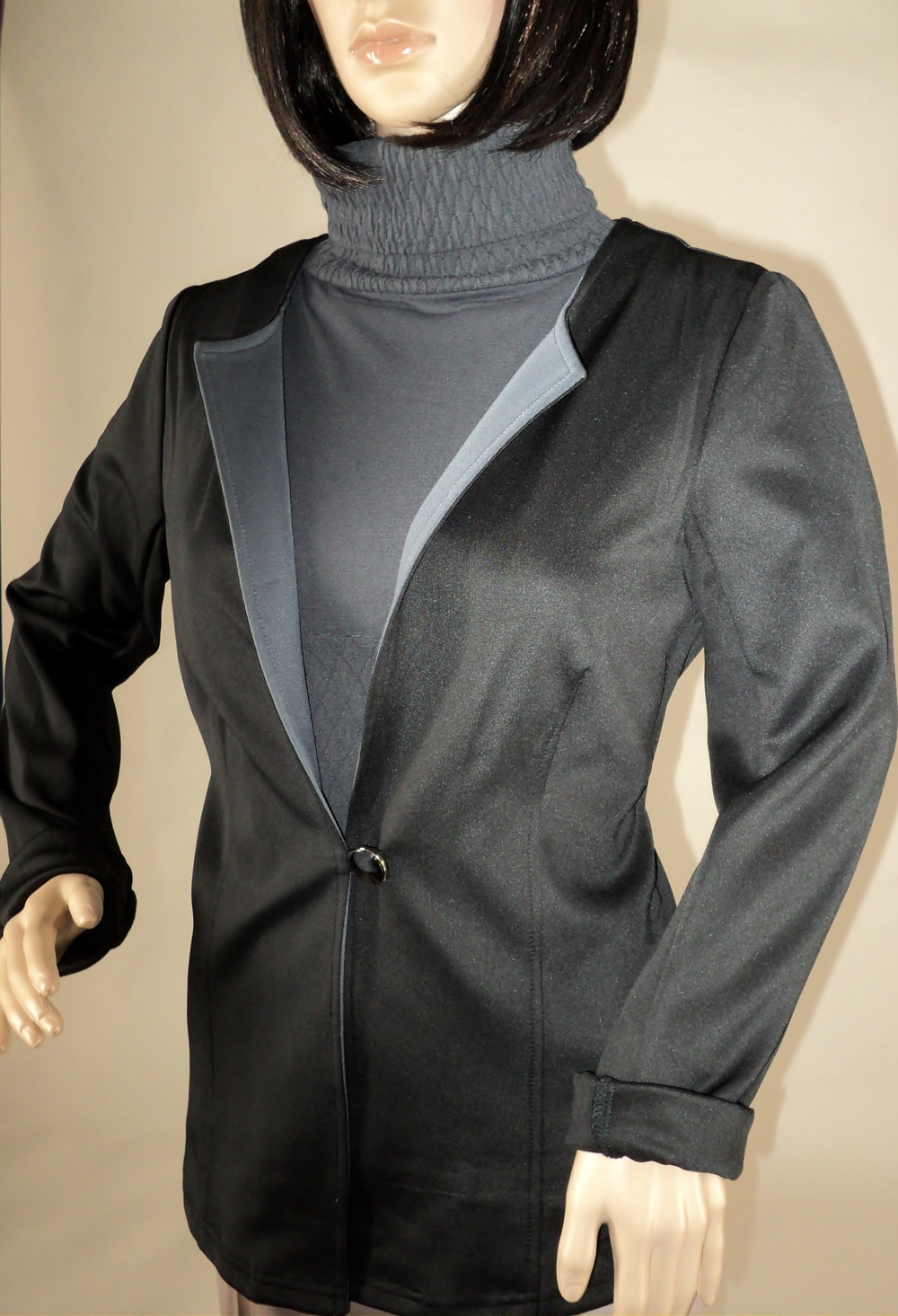 Black and Gray One Button Blazer_Semi Front.jpg