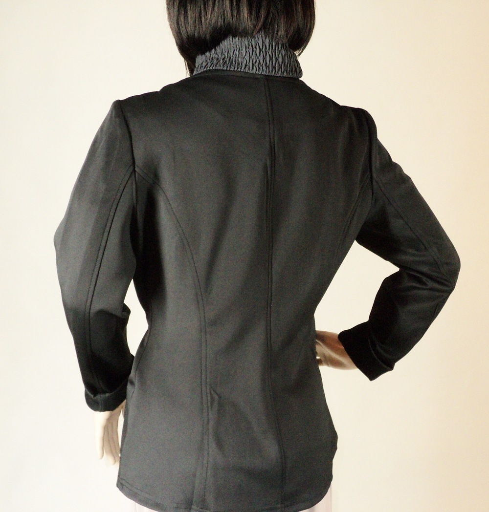 Black and Gray One Button Blazer_Back2.jpg
