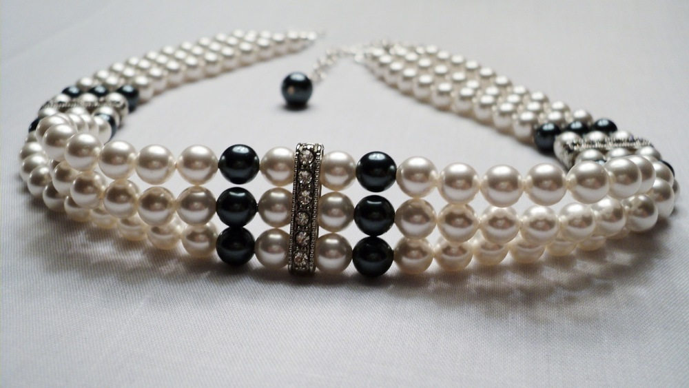 13 12 inches  three strands of 6mm Glass Pearl Adjustable Chocker Necklace_Front 2.JPG