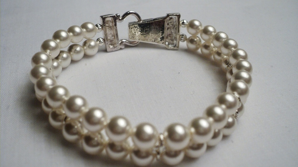 Swarovski Glass Pearl Bracelet with Silver Plated Buckle Magnetic Clasp2.jpg