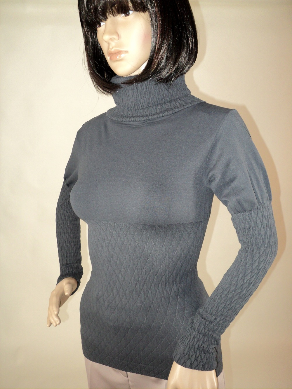 Charcoal Turtle Neck Blouse_Side.jpg