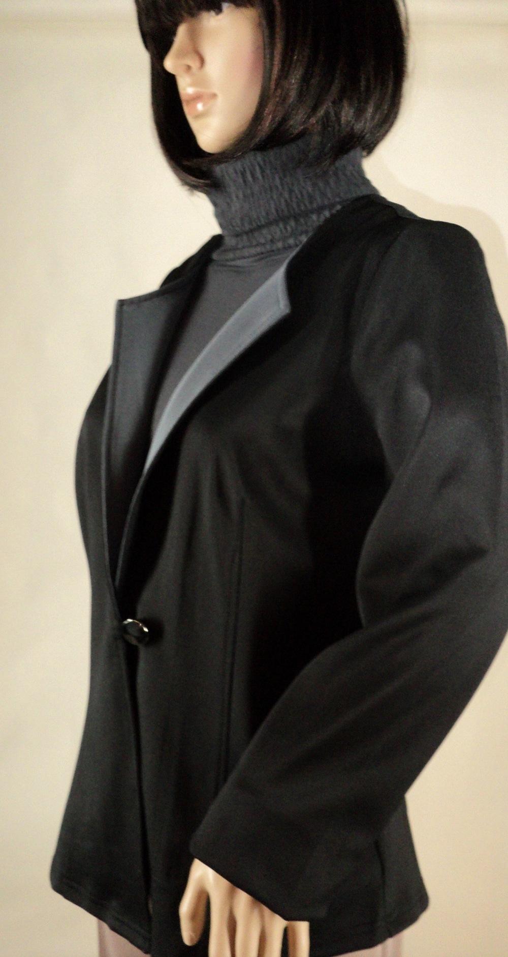 Black and Gray One Button Blazer_Side.jpg