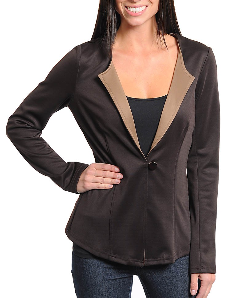 Brown and Tan One Button Blazer5.jpg