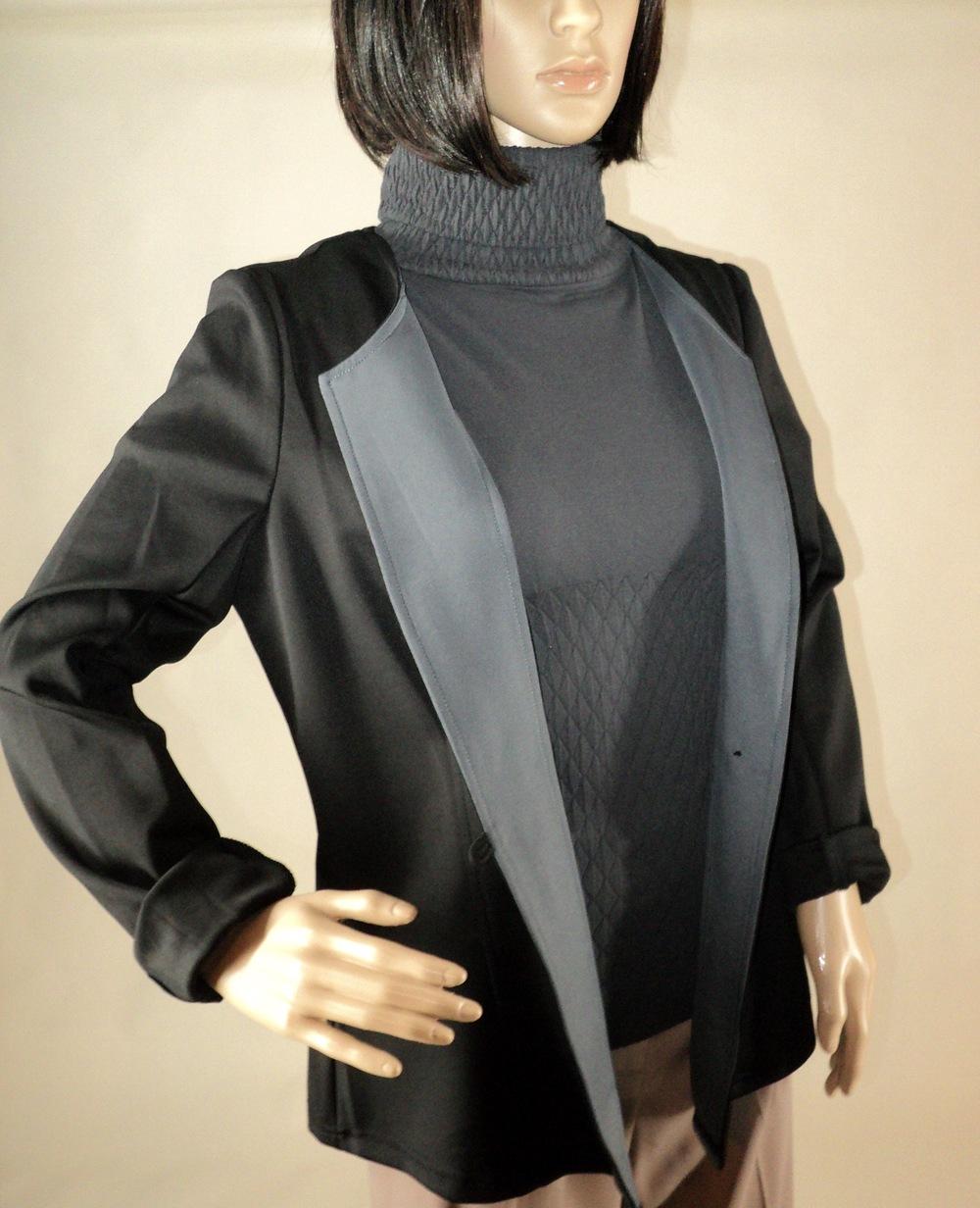 Black and Gray One Button Blazer_Semi Front2.jpg