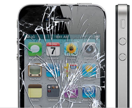 cracked iphone 4 screen fix