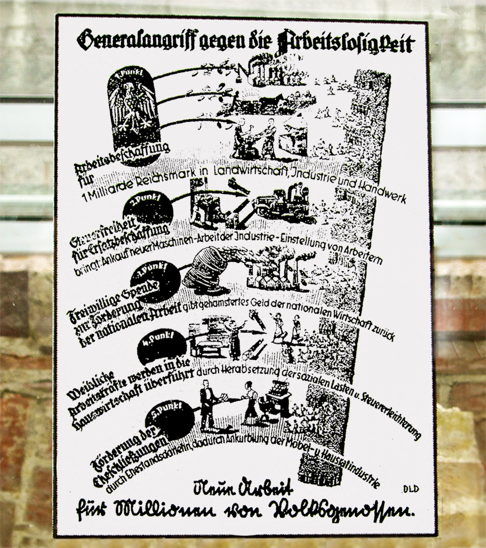 """General attack on unemployment"", graphic, 14 June 1933.  The Nazis made great publicity about their schemes for combating joblessness, which included investing in the infrastructure and industry and boosting the private service sector.                                   Normal     0                     false     false     false         EN-US     JA     X-NONE                                                                                                                                                                                                                                                                                                                                                                                                                                                                                                                                                                                                                                                                                                                    /* Style Definitions */ table.MsoNormalTable 	{mso-style-name:""Table Normal""; 	mso-tstyle-rowband-size:0; 	mso-tstyle-colband-size:0; 	mso-style-noshow:yes; 	mso-style-priority:99; 	mso-style-parent:""""; 	mso-padding-alt:0in 5.4pt 0in 5.4pt; 	mso-para-margin:0in; 	mso-para-margin-bottom:.0001pt; 	mso-pagination:widow-orphan; 	font-size:12.0pt; 	font-family:Cambria; 	mso-ascii-font-family:Cambria; 	mso-ascii-theme-font:minor-latin; 	mso-hansi-font-family:Cambria; 	mso-hansi-theme-font:minor-latin;}"