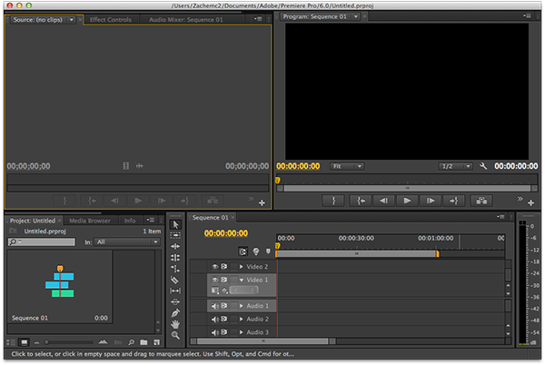 Typical editing timeline (Adobe Premiere Pro CS6).