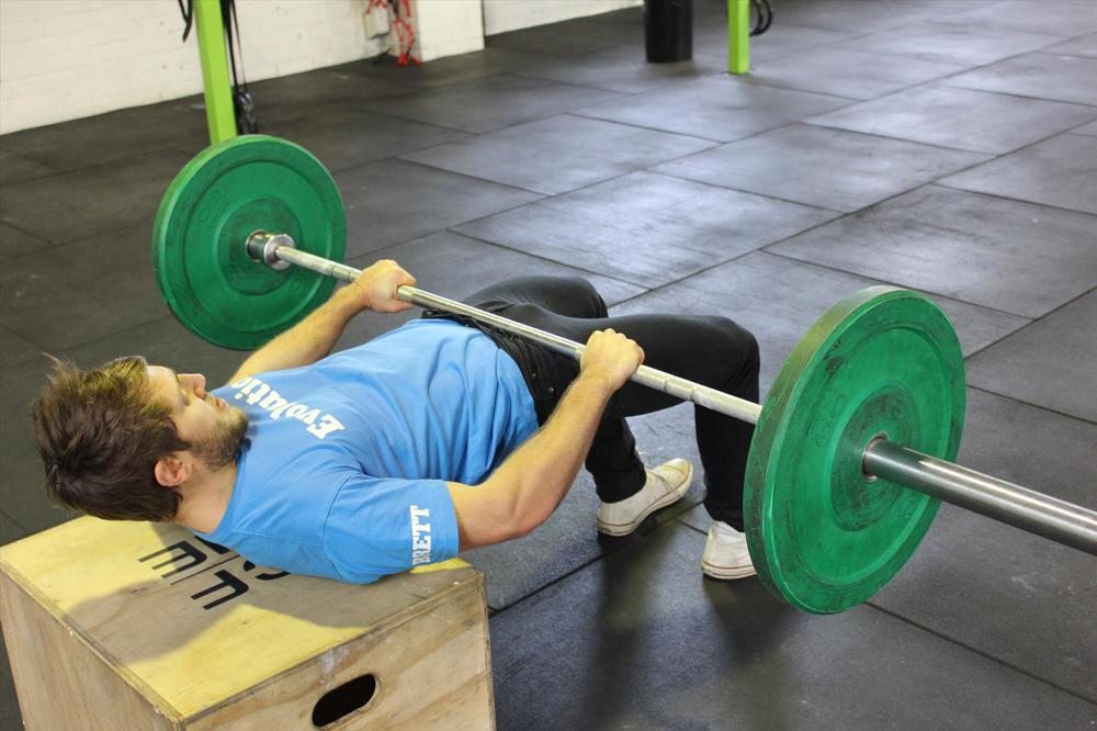 Barbell hip thrust to strengthen the hip extensors