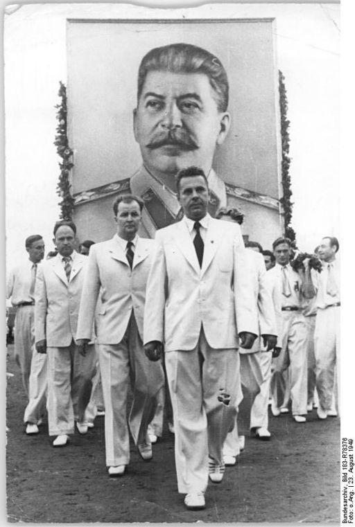 Komsomol members in Budapest, 1949.