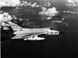 A Skyray plane in flight off Taiwan in 1958