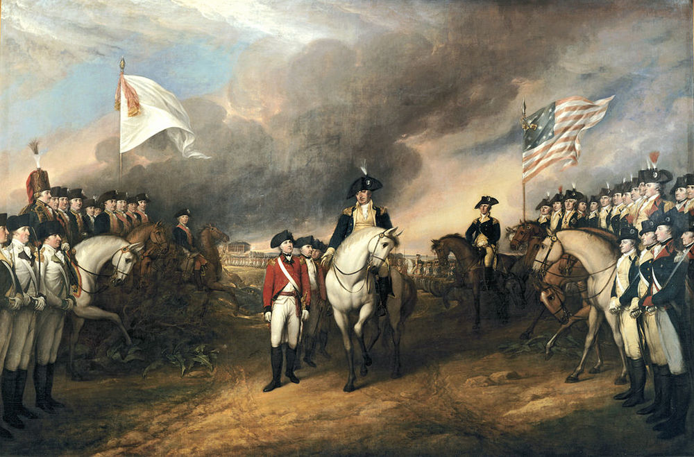 British Major General Charles Cornwallis, 1st Marquess Cornwallis, surrendering  to French and American forces after the Siege of Yorktown, 1781