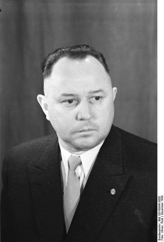 Erich Meilke, the man who led the Stasi for over 30 years, in 1958. He worked for  DDR leader Walter Ulbricht  for much of his tenure.   Source:  Bundesarchiv, Bild 183-60945-0005 / Ulmer, Rudi / CC-BY-SA