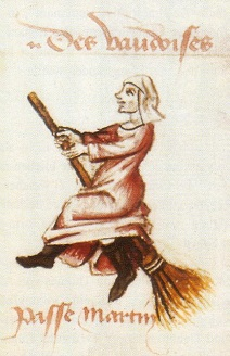 A witch as drawn in a 15th century book by Martin Le France