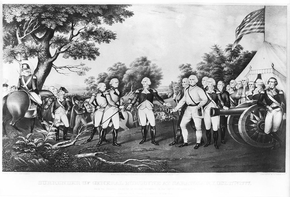 The surrender of General Burgoyne at Saratoga, 1777