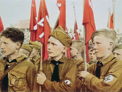 Members of the Hitler Youth (Hitler Jugend) in 1933. Those in the photo were too young to have been in the Freikorps in the years immediately after World War I, but the Hitler Youth organization was influenced by the Freikorps.