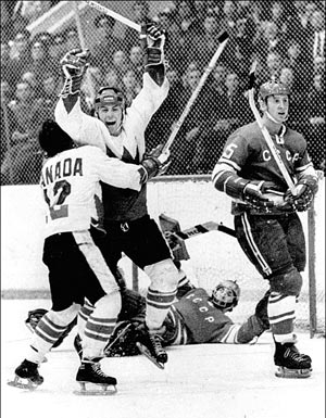 Paul Henderson of Canada celebrating a very important goal in the USSR in September 1972.