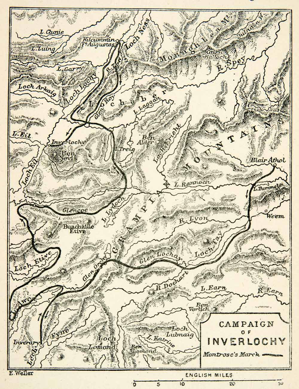 A map of the Campaign of Inverlochy.