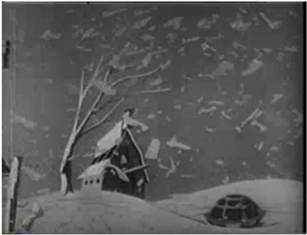 Animation showing the destruction of the bomb, with Bert the Turtle in the foreground.