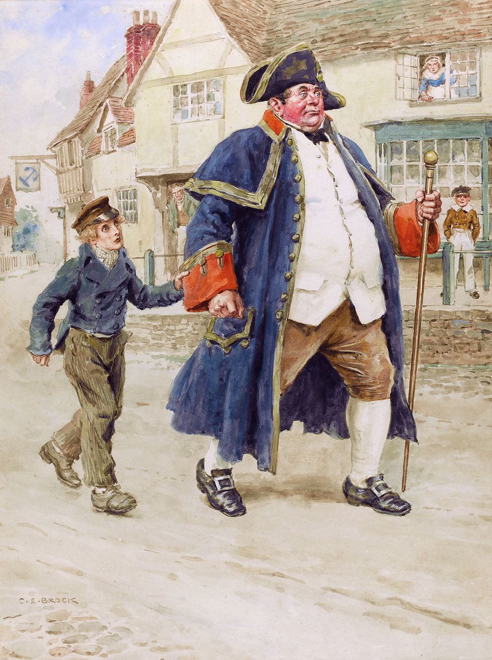 Mr Bumble, the beadle from the workhouse, leading Oliver Twist. The painting is based on the book  Oliver Twist  by Charles Dickens.