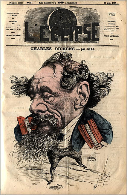 A caricature of Charles Dickens. L'Eclipse, June 14, 1868.