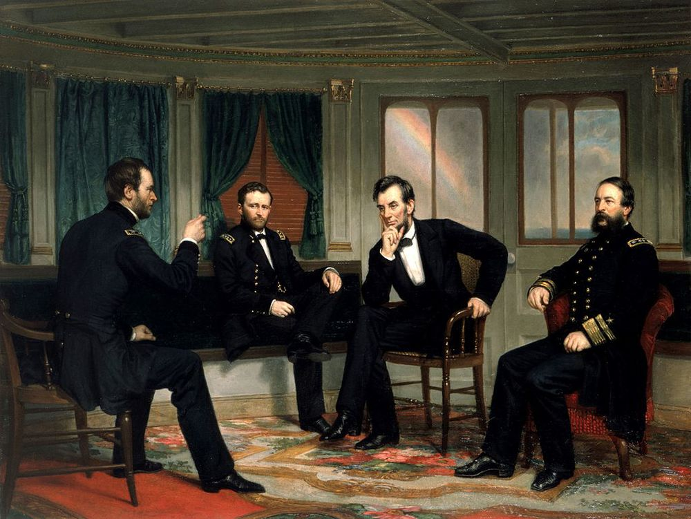 The Peacemakers, c. 1868. William Sherman, Ulysses S Grant, Abraham Lincoln, and David Porter on the River Queen in March 1865.