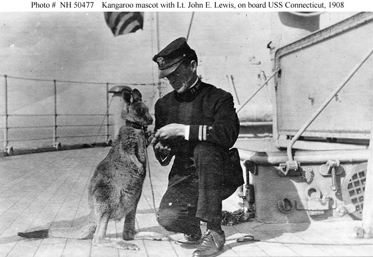 Lieutenant John E. Lewis with a kangaroo on board USS Connecticut, circa 1908.
