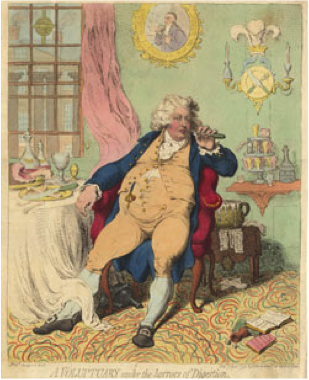 A famous caricature by James Gillray showing George IV in his later, less flattering years