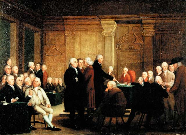 Voting for Independence during the Second Continental Congress.
