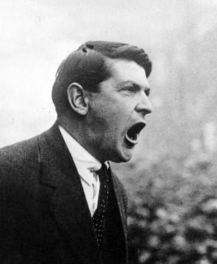 Michael Collins addressing a crowd in Dublin, 1922.