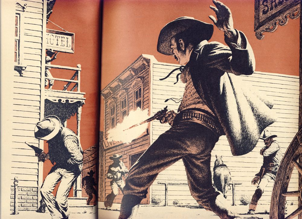 A stylized version of a Wild West gunfight.