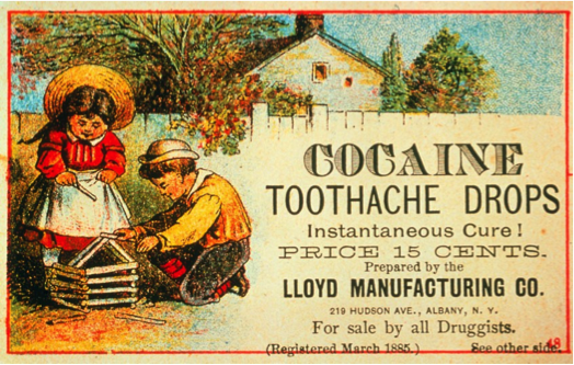 An advertisement for cocaine toothache drops.