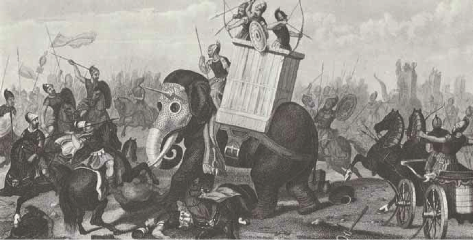 A depiction of the mighty war elephant.