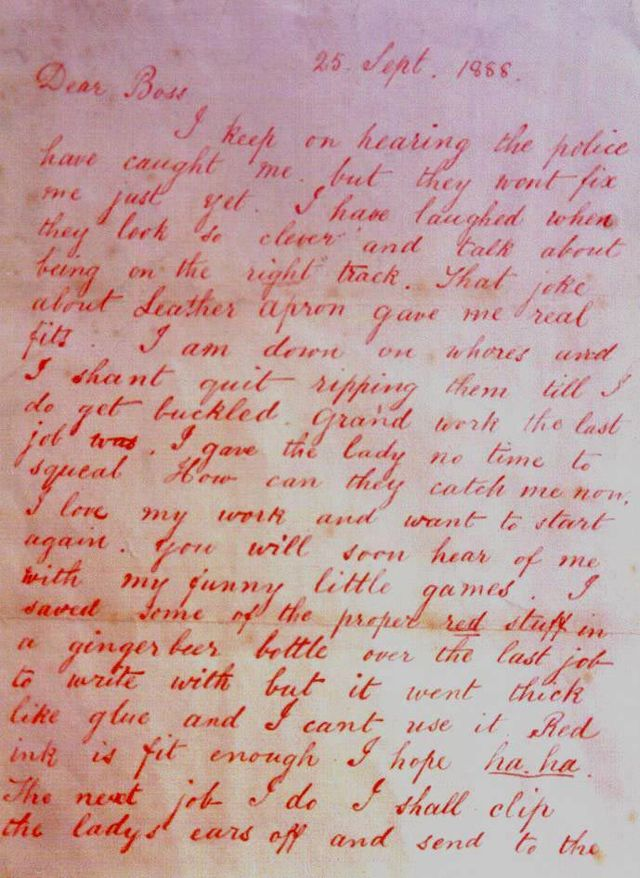 The first letter from Jack the Ripper - September 25, 1888.