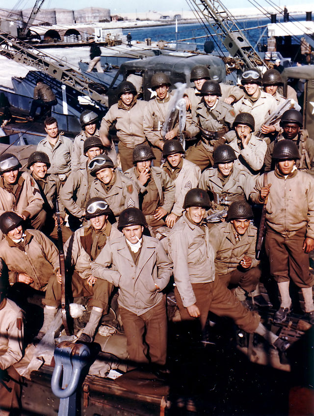 US troops before fighting began in June 1944.