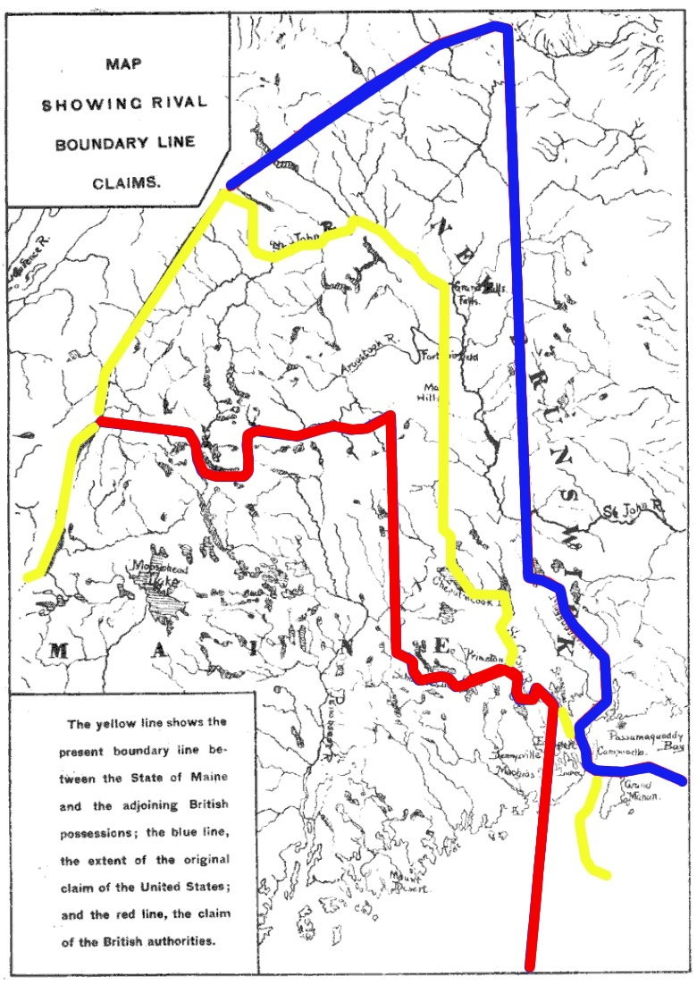 A map illustrating the Maine Boundary Dispute. The red line is the British claim and the blue line the American claim. The yellow line is the final agreed boundary in the 1842 Webster-Ashburton Treaty..