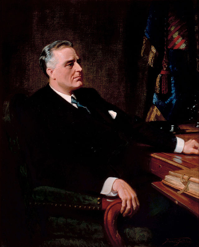 Franklin D. Roosevelt's presidential portrait. Roosevelt has a very much unwanted midterm record.