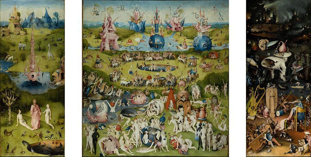 The triptych 'The Garden of Earthly Delights' by Hieronymous Bosch. Our world may not be as fantastical as this. But we try...