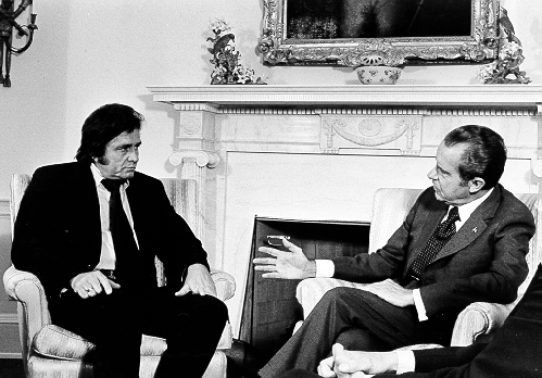 Johnny Cash and President Richard Nixon together in July 1972.