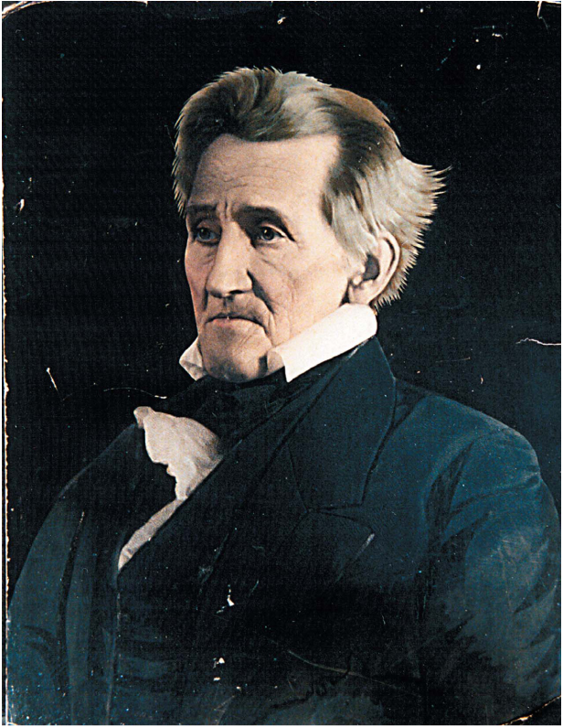 A colored image of Andre Jackson, US President 1829-1837.