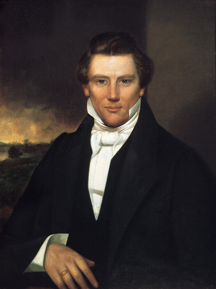 A painting of Joseph Smith, the founder of the Mormon faith, from the early 1840s.