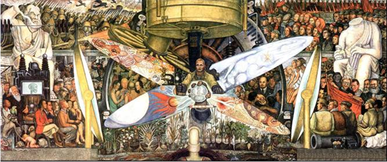 A recreated version of Man at the Crossroads. It is by Diego Rivera and called Man, Controller of the Universe. Source: Gumr51, available here.