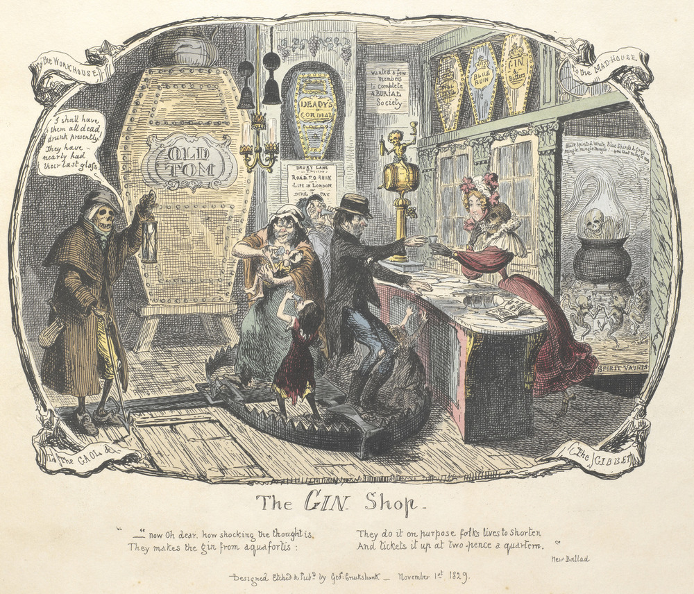 The Gin Shop, a cartoon about drinking too much. By George Cruikshank, 1829.