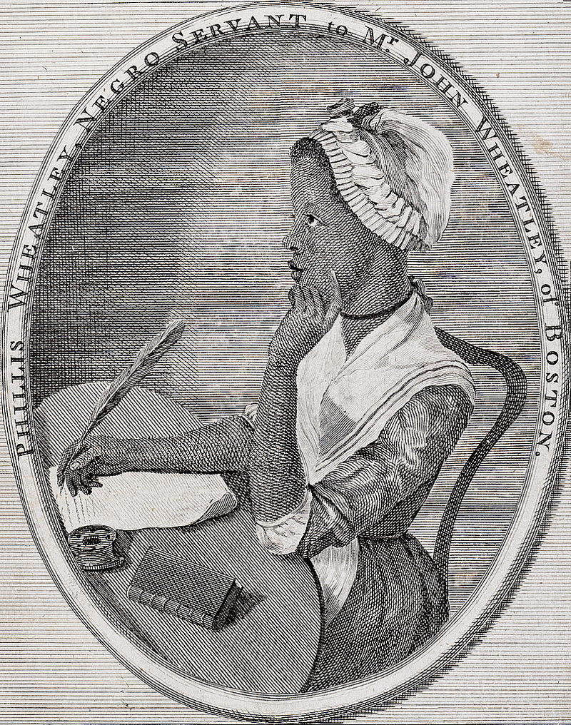 The frontispiece to Phillis Wheatley's Poems on Various Subjects.