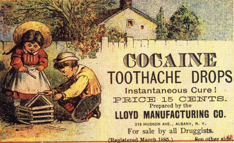 An 1885 advert for children's cocaine toothache drops.