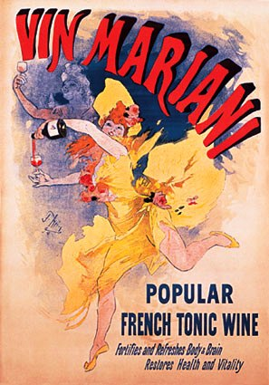A 1890s advert for Vin Mariani tonic wine.