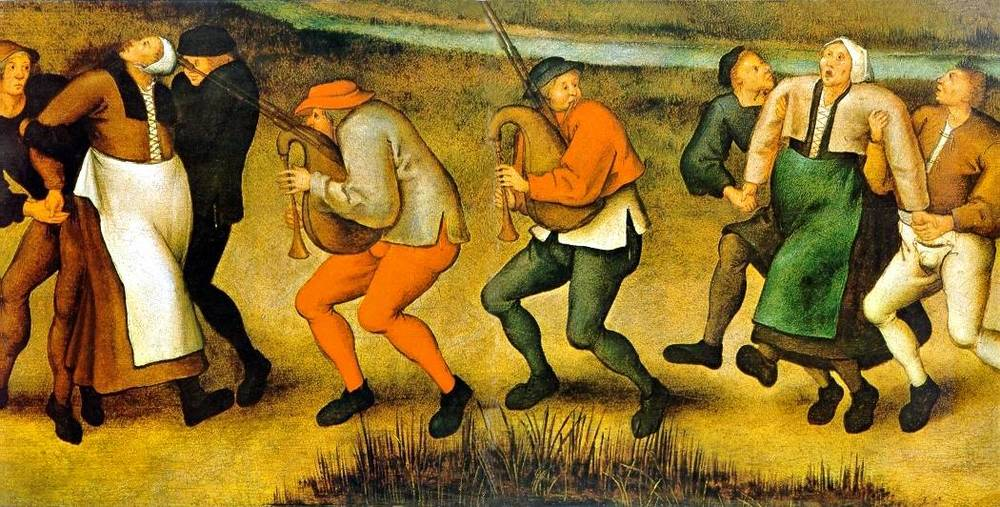 A depiction of a dancing plague in Molenbeek (modern-day Belgium) by Pieter Brueghel the Younger.