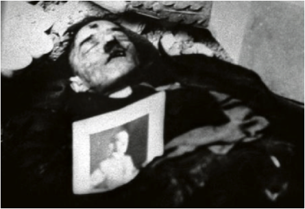 The discovered body of Gustav Weller, believed and claimed by the Russians to be Hitler.