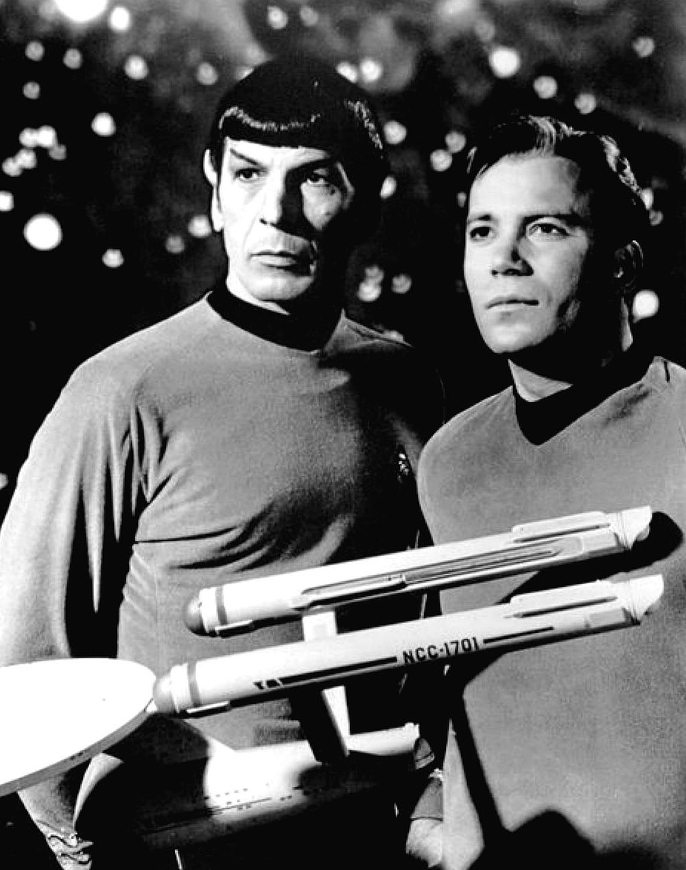 Leonard Nimoy and William Shatner as Mr. Spock and Captain Kirk on  Star Trek . Source:  here .